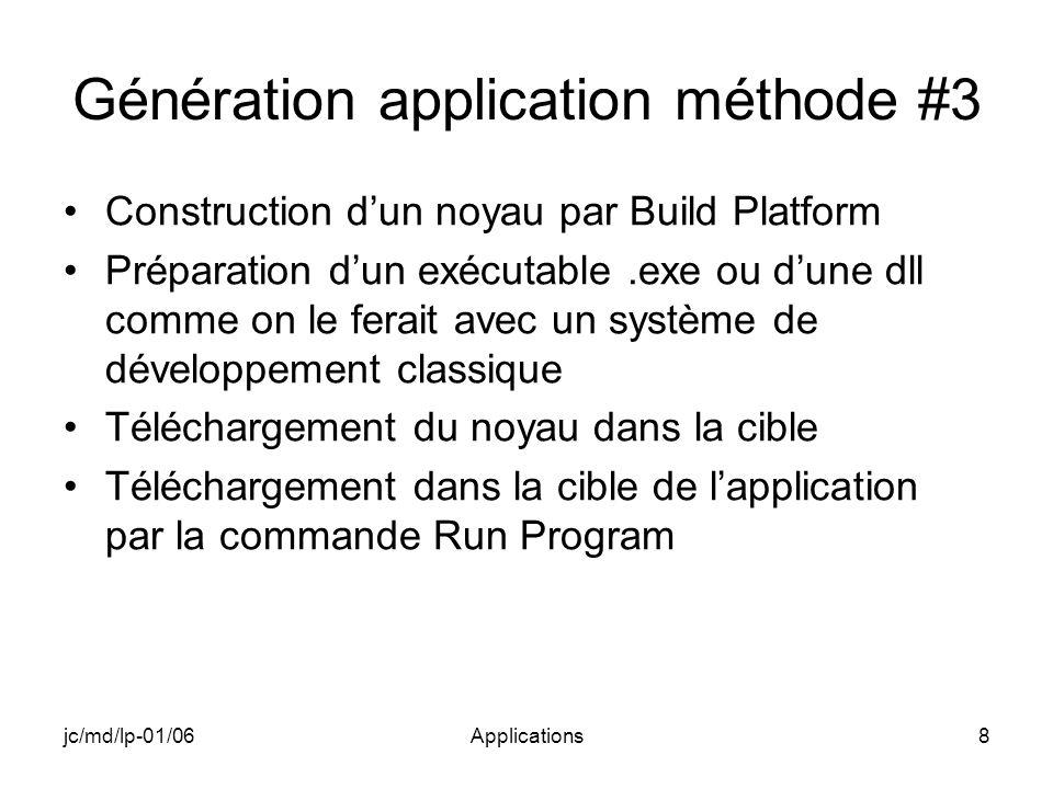 jc/md/lp-01/06Applications9 Génération (build) : méthode #3 ApplicationNoyau Image noyau Mémoire Run Program Téléchargement ApplicationNoyau Build.exe Build Platform Application cible