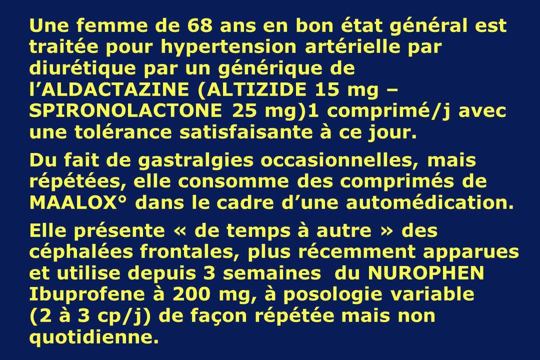 Une femme de 68 ans en bon état général est traitée pour hypertension artérielle par diurétique par un générique de lALDACTAZINE (ALTIZIDE 15 mg – SPIRONOLACTONE 25 mg)1 comprimé/j avec une tolérance satisfaisante à ce jour.