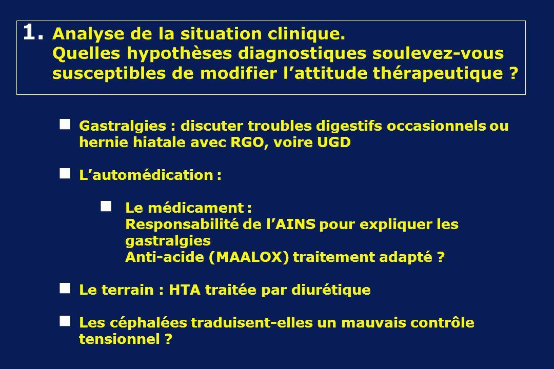 1. Analyse de la situation clinique. Quelles hypothèses diagnostiques soulevez-vous susceptibles de modifier lattitude thérapeutique ? Gastralgies : d