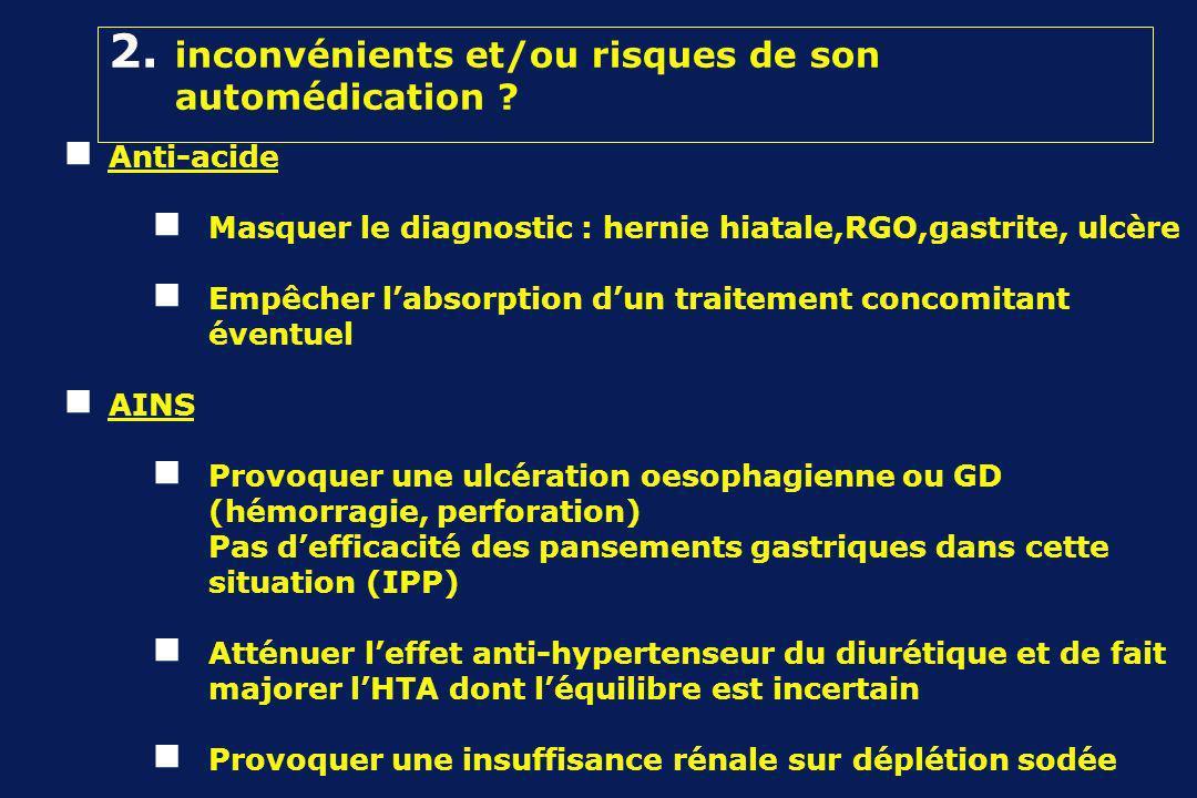 2. inconvénients et/ou risques de son automédication .