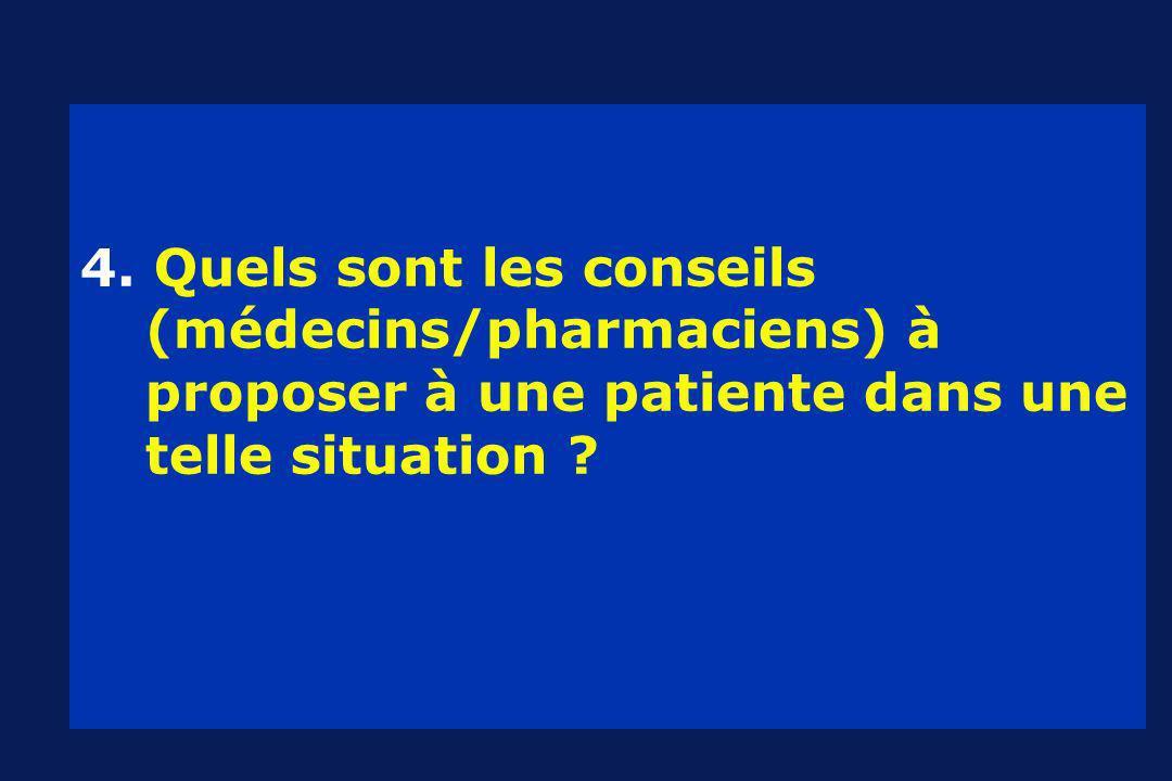 4. Quels sont les conseils (médecins/pharmaciens) à proposer à une patiente dans une telle situation ?