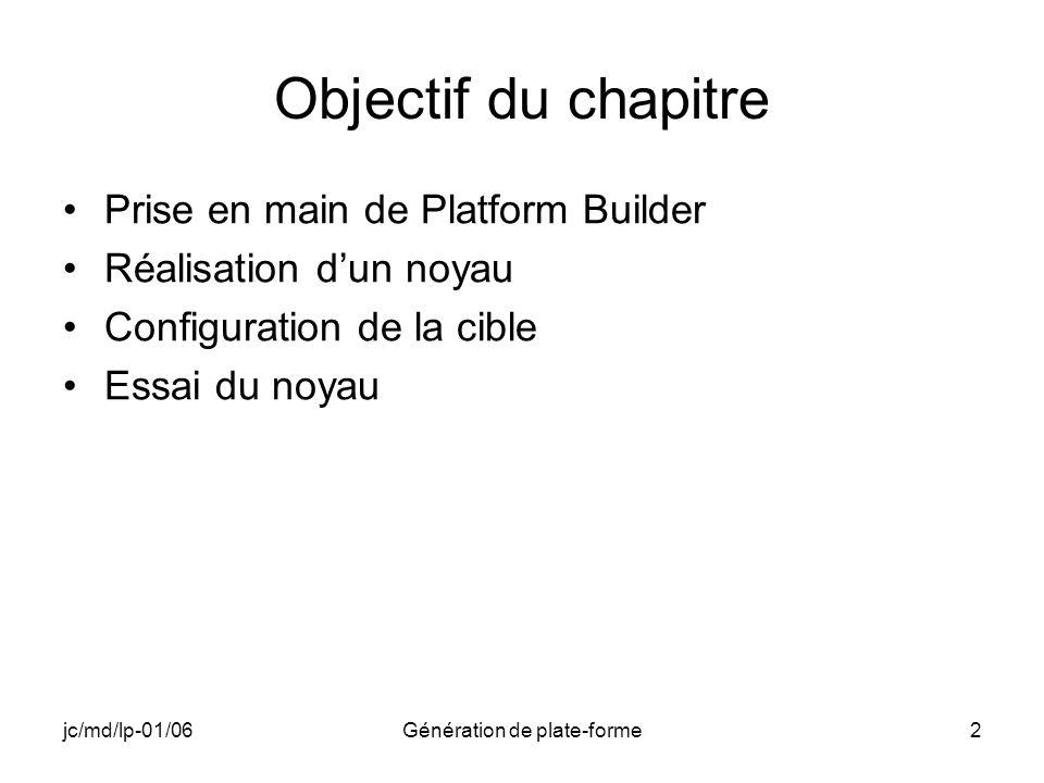 jc/md/lp-01/06Génération de plate-forme2 Objectif du chapitre Prise en main de Platform Builder Réalisation dun noyau Configuration de la cible Essai du noyau