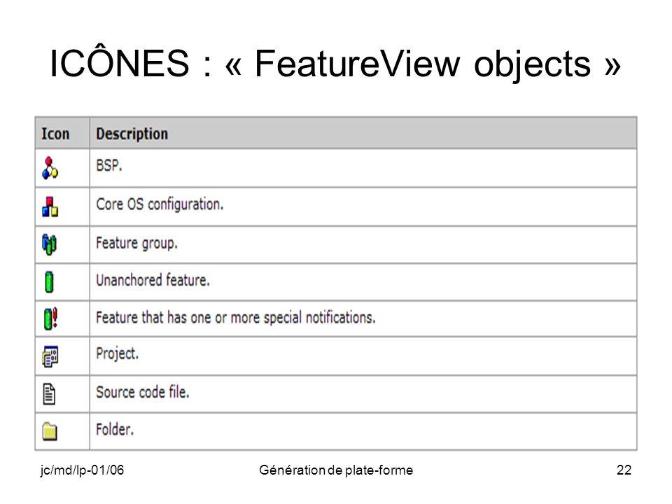 jc/md/lp-01/06Génération de plate-forme22 ICÔNES : « FeatureView objects »