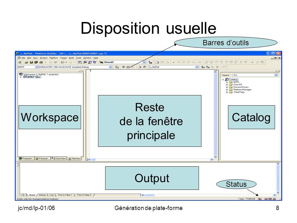 jc/md/lp-01/06Génération de plate-forme8 Disposition usuelle Workspace Reste de la fenêtre principale Catalog Output Barres doutils Status