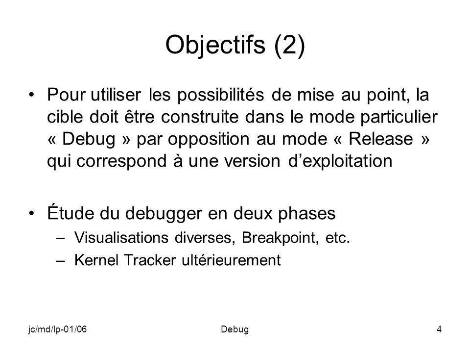 jc/md/lp-01/06Debug4 Objectifs (2) Pour utiliser les possibilités de mise au point, la cible doit être construite dans le mode particulier « Debug » par opposition au mode « Release » qui correspond à une version dexploitation Étude du debugger en deux phases –Visualisations diverses, Breakpoint, etc.