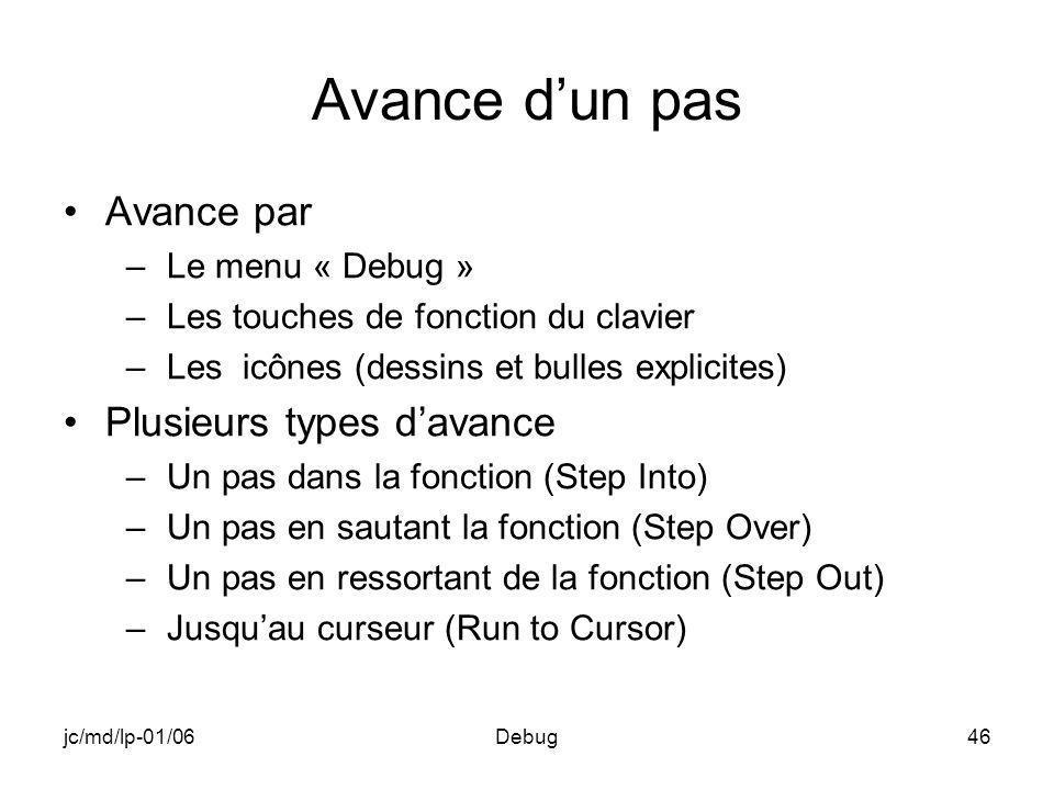 jc/md/lp-01/06Debug46 Avance dun pas Avance par –Le menu « Debug » –Les touches de fonction du clavier –Les icônes (dessins et bulles explicites) Plus