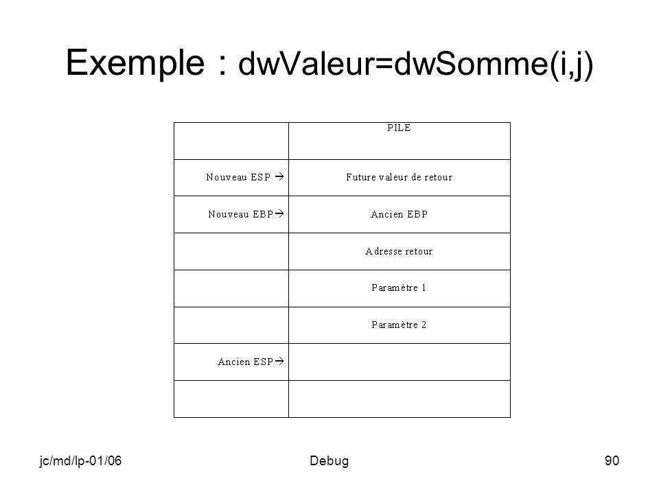 jc/md/lp-01/06Debug90 Exemple : dwValeur=dwSomme(i,j)