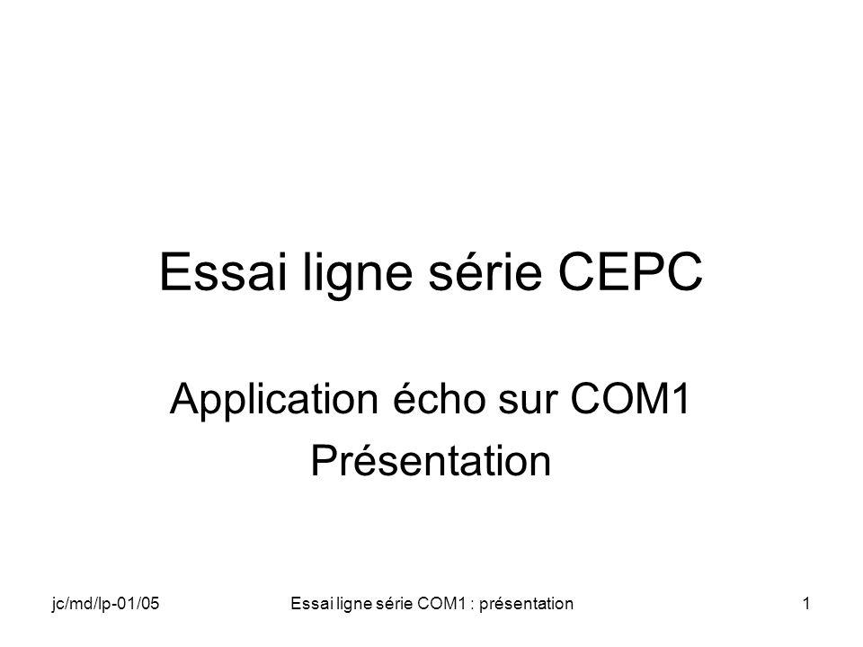 jc/md/lp-01/05Essai ligne série COM1 : présentation1 Essai ligne série CEPC Application écho sur COM1 Présentation
