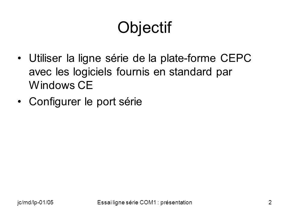 jc/md/lp-01/05Essai ligne série COM1 : présentation2 Objectif Utiliser la ligne série de la plate-forme CEPC avec les logiciels fournis en standard par Windows CE Configurer le port série