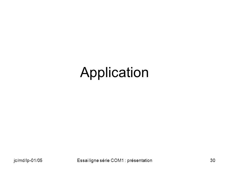 jc/md/lp-01/05Essai ligne série COM1 : présentation30 Application