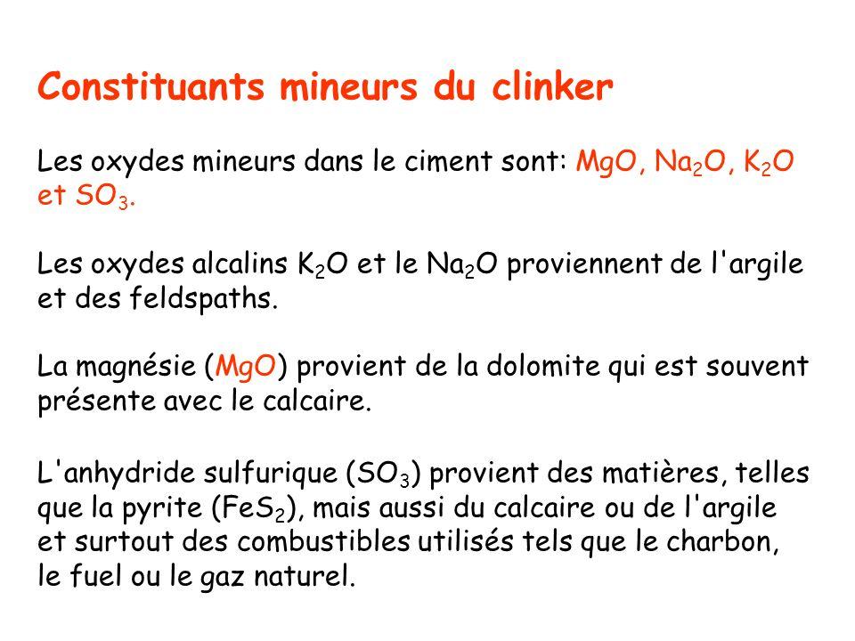 Constituants mineurs du clinker Les oxydes mineurs dans le ciment sont: MgO, Na 2 O, K 2 O et SO 3. Les oxydes alcalins K 2 O et le Na 2 O proviennent