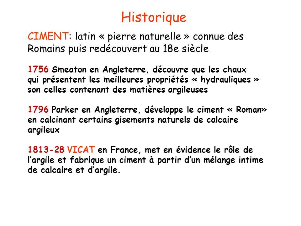 CIMENT: latin « pierre naturelle » connue des Romains puis redécouvert au 18e siècle 1756 Smeaton en Angleterre, découvre que les chaux qui présentent