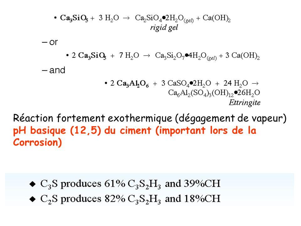 Réaction fortement exothermique (dégagement de vapeur) pH basique (12,5) du ciment (important lors de la Corrosion)