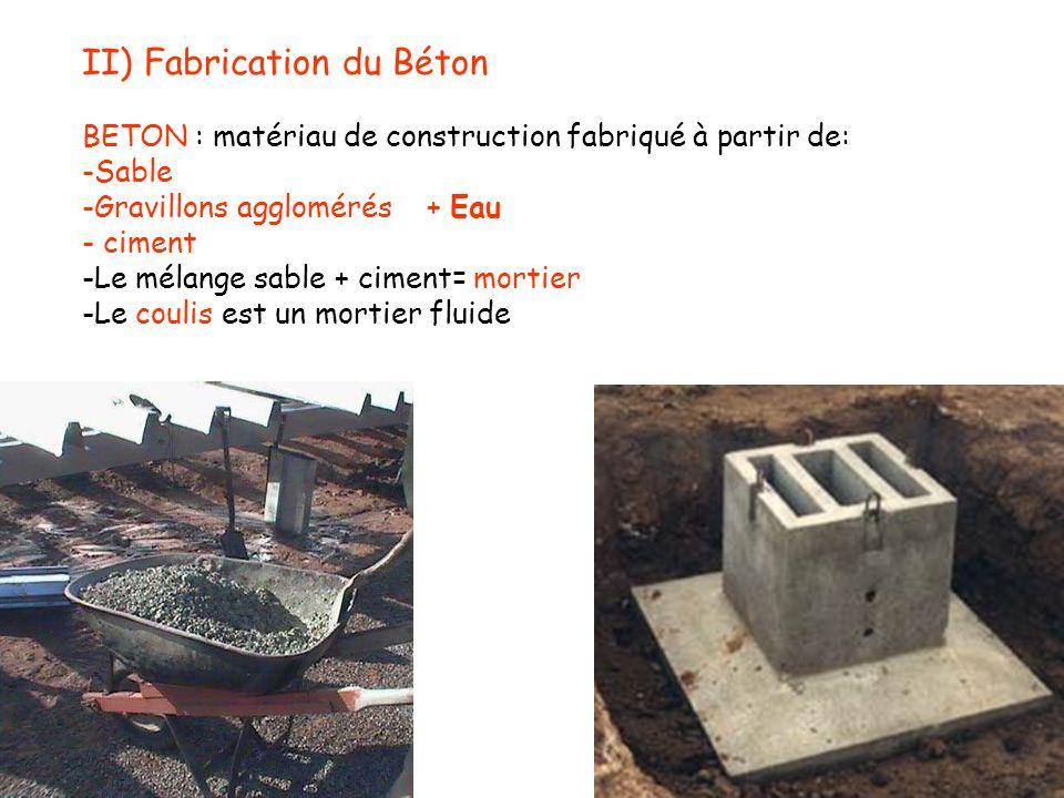 II) Fabrication du Béton BETON : matériau de construction fabriqué à partir de: -Sable -Gravillons agglomérés + Eau - ciment -Le mélange sable + cimen