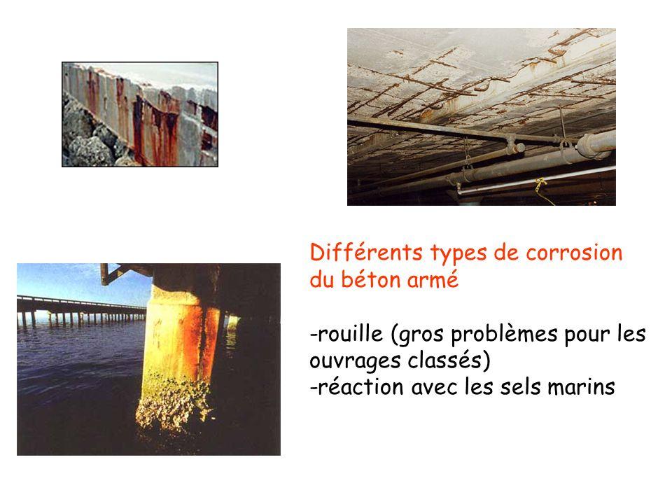 Différents types de corrosion du béton armé -rouille (gros problèmes pour les ouvrages classés) -réaction avec les sels marins