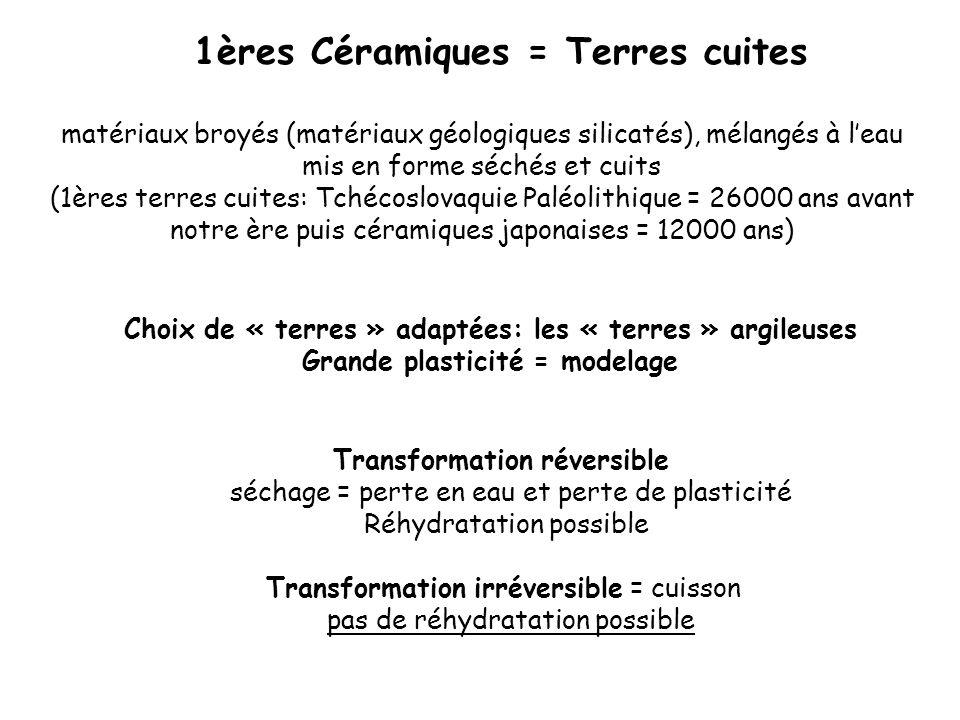 A) Céramiques silicatées = Céramiques« traditionnelles » Plus grand emploi des céramiques B) Céramiques non silicatées, dites céramiques « oxydes » ou néocéramiques = fin du 19e Siècle usages spécifiques Céramiques silicatées et non silicatées
