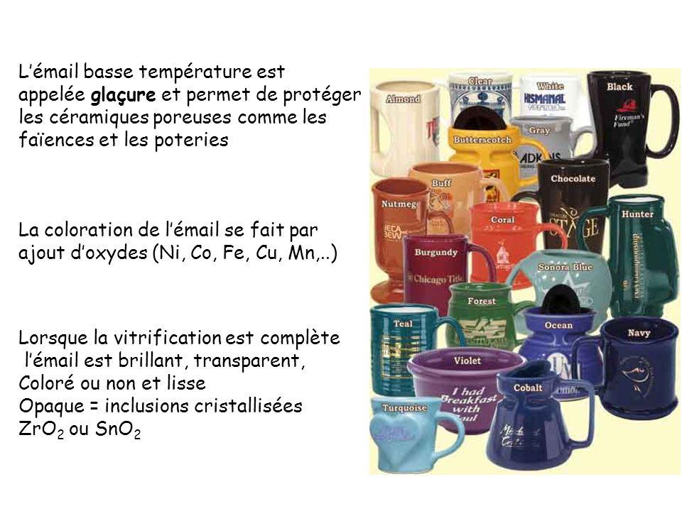 Lémail basse température est appelée glaçure et permet de protéger les céramiques poreuses comme les faïences et les poteries La coloration de lémail