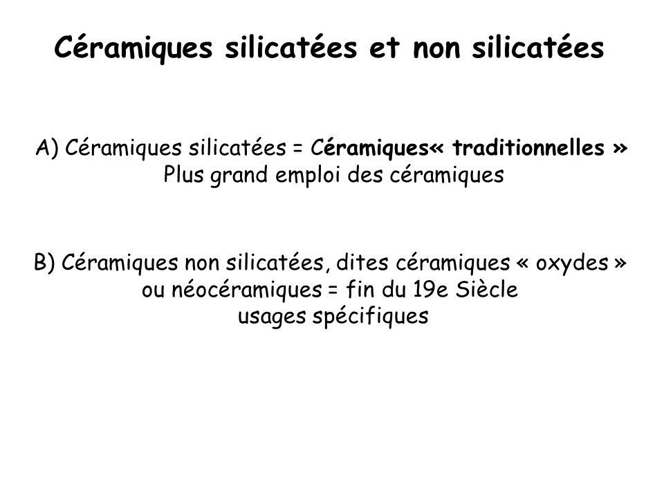 A) Céramiques silicatées = Céramiques« traditionnelles » Plus grand emploi des céramiques B) Céramiques non silicatées, dites céramiques « oxydes » ou
