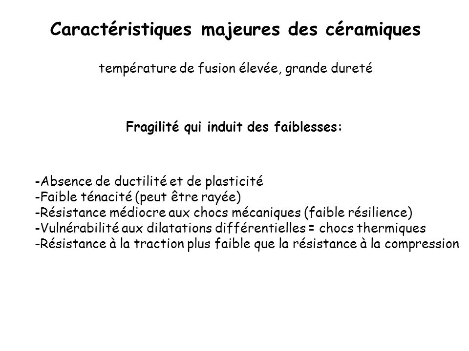 Fragilité qui induit des faiblesses: -Absence de ductilité et de plasticité -Faible ténacité (peut être rayée) -Résistance médiocre aux chocs mécaniqu
