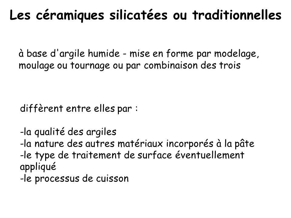 Les céramiques silicatées ou traditionnelles diffèrent entre elles par : -la qualité des argiles -la nature des autres matériaux incorporés à la pâte