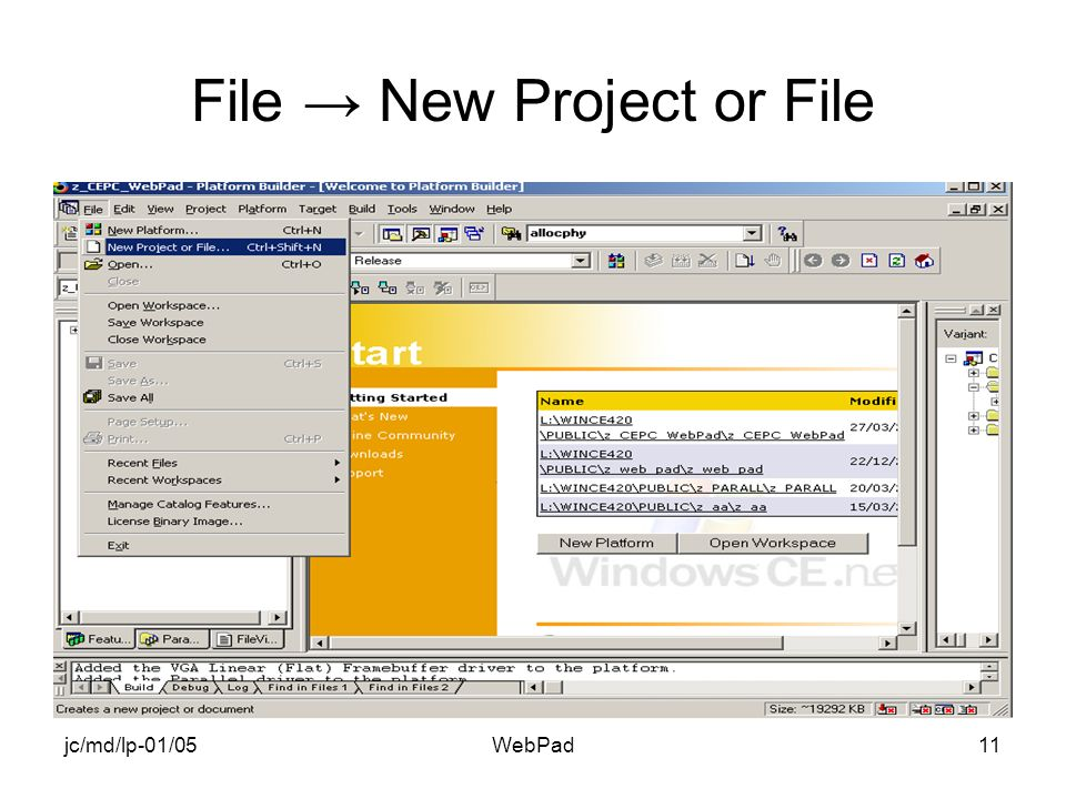 jc/md/lp-01/05WebPad11 File New Project or File