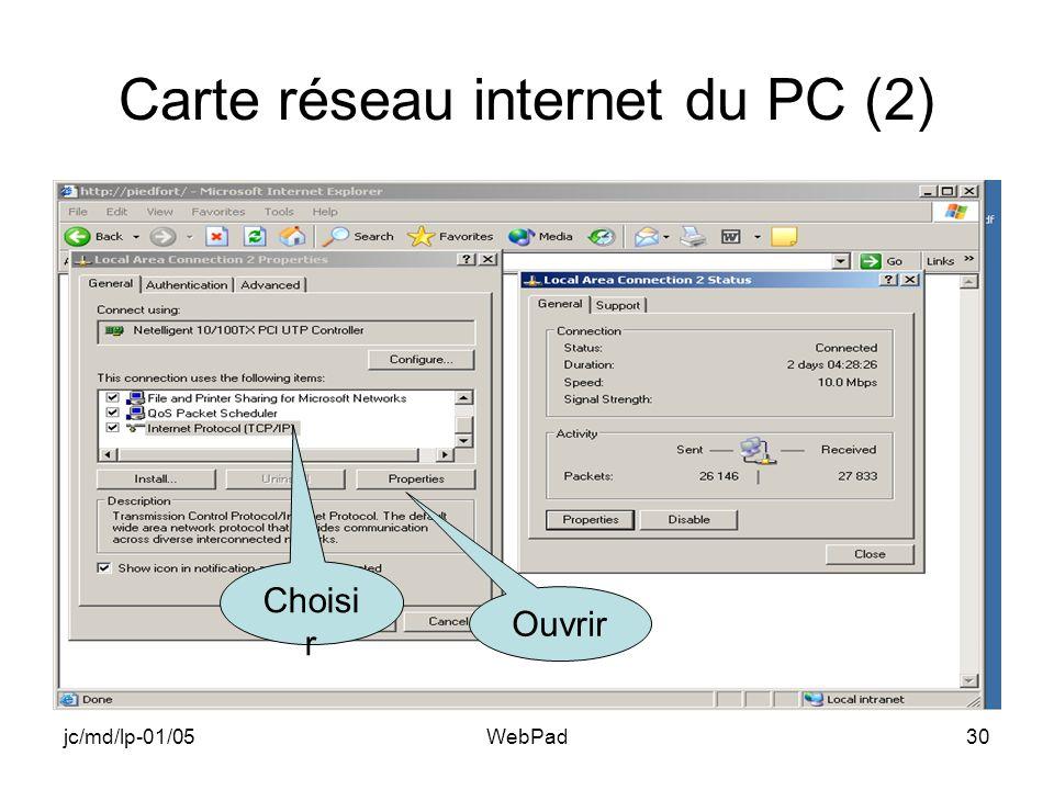 jc/md/lp-01/05WebPad30 Carte réseau internet du PC (2) Choisi r Ouvrir