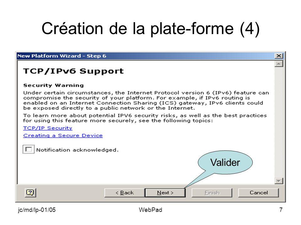 jc/md/lp-01/05WebPad8 Fin de lassistant Valider