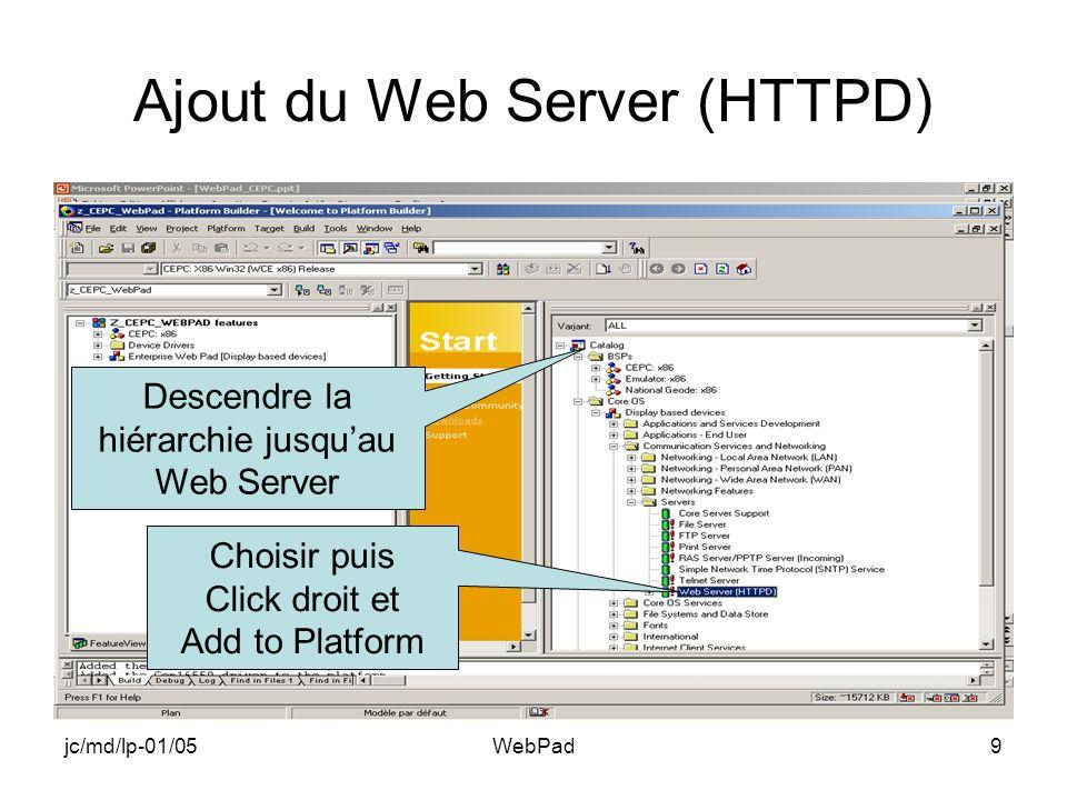 jc/md/lp-01/05WebPad20 Ouvrir Project.dat Choisir Dérouler Ouvrir
