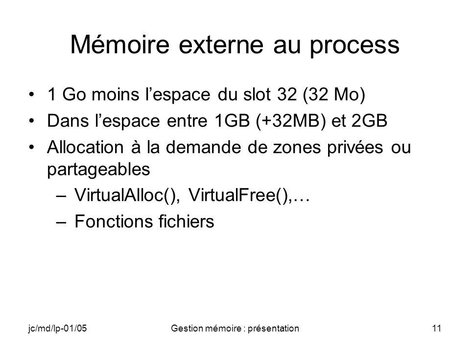 jc/md/lp-01/05Gestion mémoire : présentation11 Mémoire externe au process 1 Go moins lespace du slot 32 (32 Mo) Dans lespace entre 1GB (+32MB) et 2GB