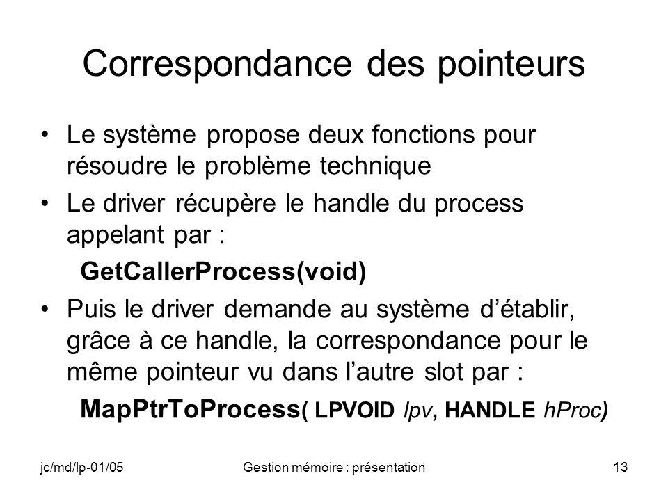 jc/md/lp-01/05Gestion mémoire : présentation13 Correspondance des pointeurs Le système propose deux fonctions pour résoudre le problème technique Le d