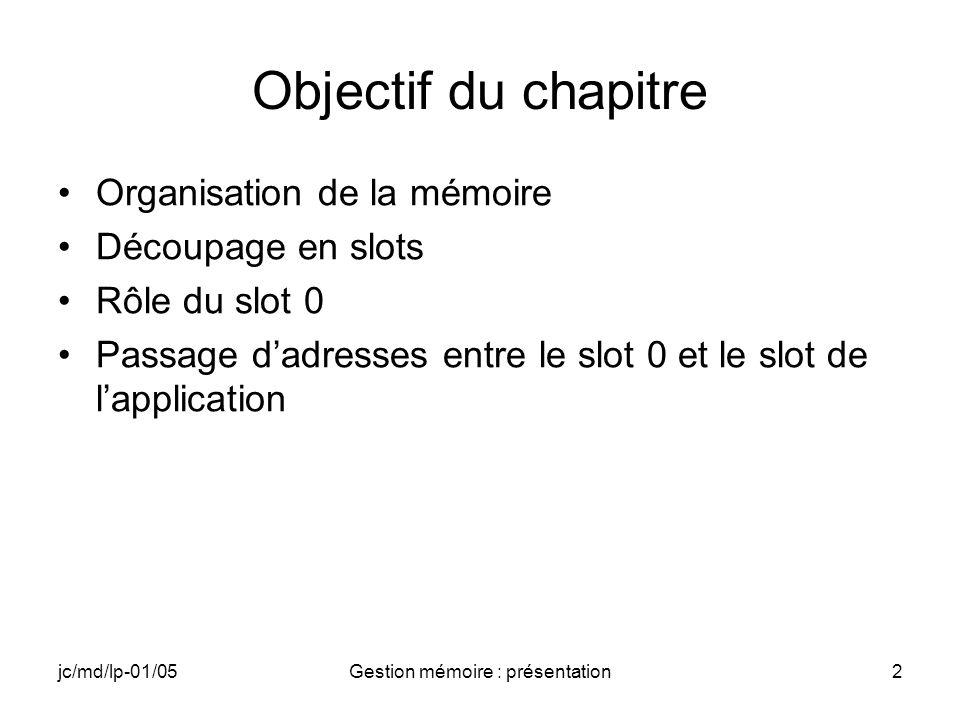 jc/md/lp-01/05Gestion mémoire : présentation2 Objectif du chapitre Organisation de la mémoire Découpage en slots Rôle du slot 0 Passage dadresses entr