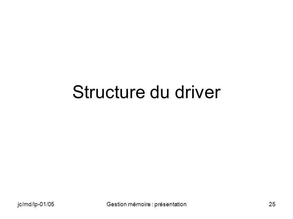 jc/md/lp-01/05Gestion mémoire : présentation25 Structure du driver