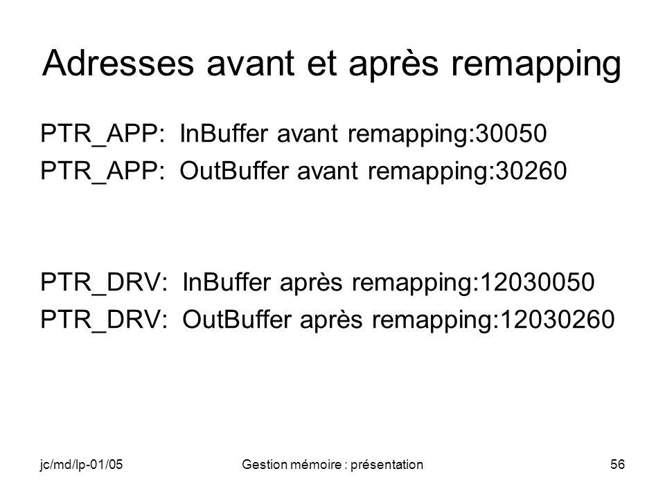 jc/md/lp-01/05Gestion mémoire : présentation56 Adresses avant et après remapping PTR_APP: InBuffer avant remapping:30050 PTR_APP: OutBuffer avant rema