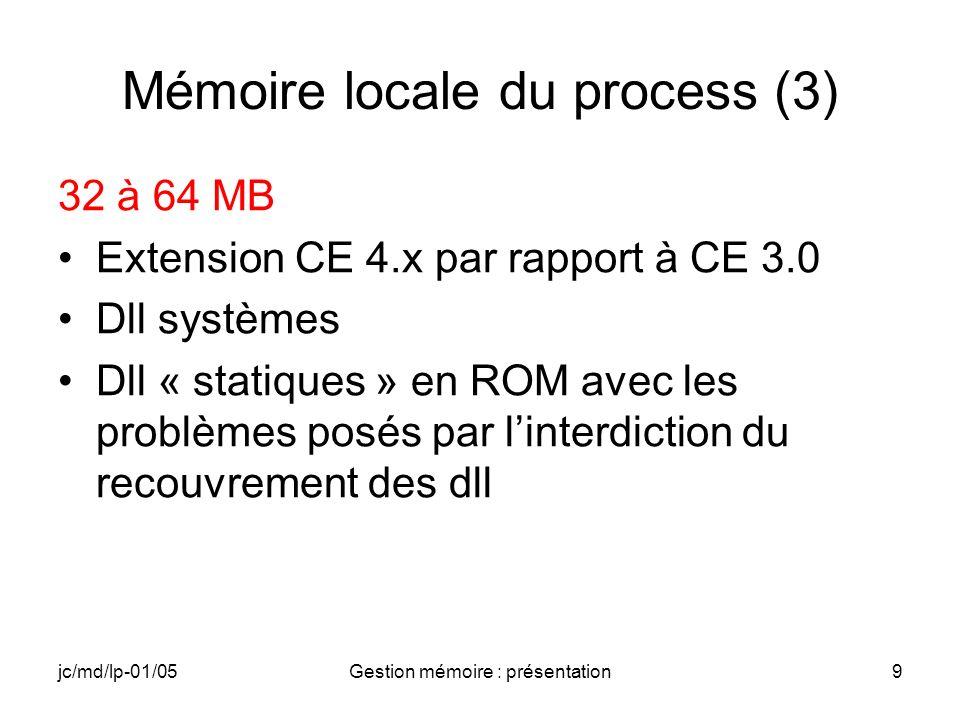 jc/md/lp-01/05Gestion mémoire : présentation9 Mémoire locale du process (3) 32 à 64 MB Extension CE 4.x par rapport à CE 3.0 Dll systèmes Dll « statiq