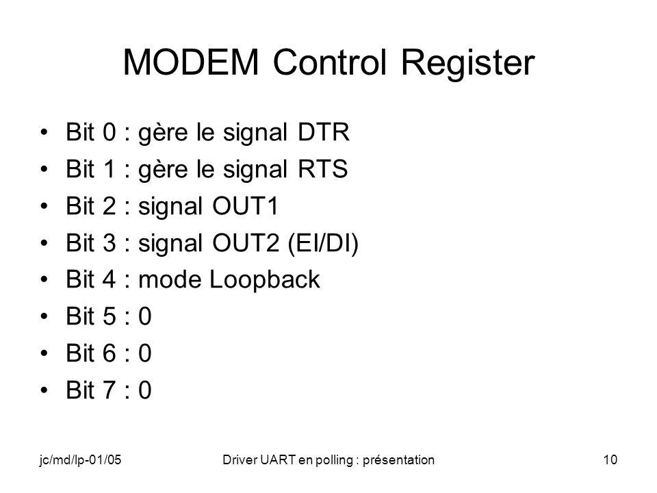 jc/md/lp-01/05Driver UART en polling : présentation10 MODEM Control Register Bit 0 : gère le signal DTR Bit 1 : gère le signal RTS Bit 2 : signal OUT1