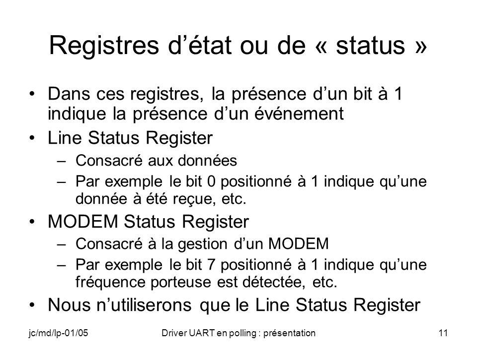 jc/md/lp-01/05Driver UART en polling : présentation11 Registres détat ou de « status » Dans ces registres, la présence dun bit à 1 indique la présence