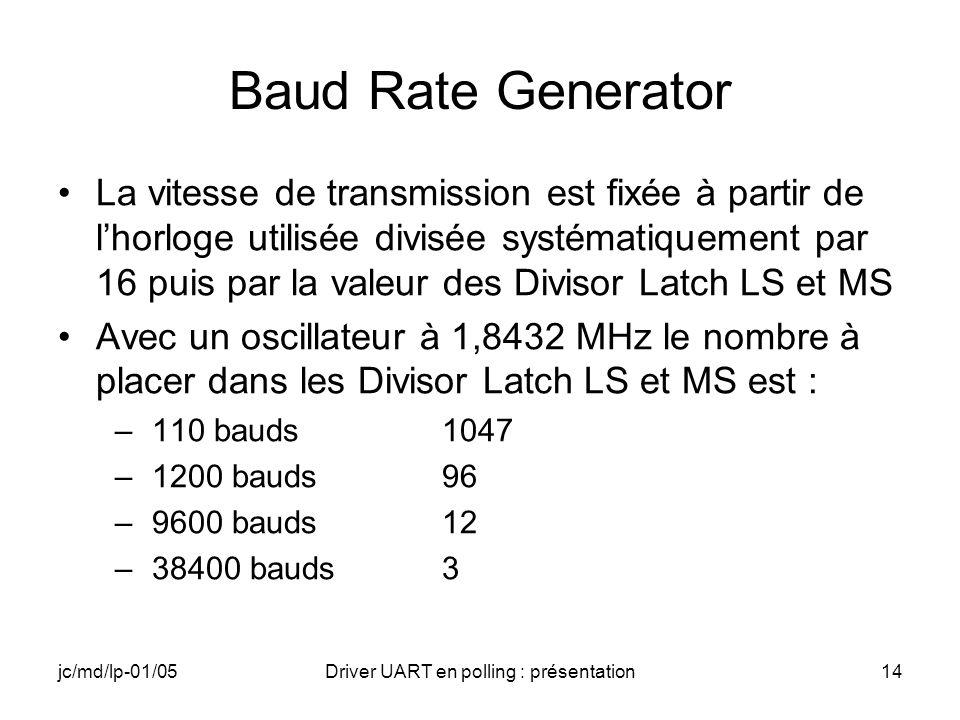 jc/md/lp-01/05Driver UART en polling : présentation14 Baud Rate Generator La vitesse de transmission est fixée à partir de lhorloge utilisée divisée s