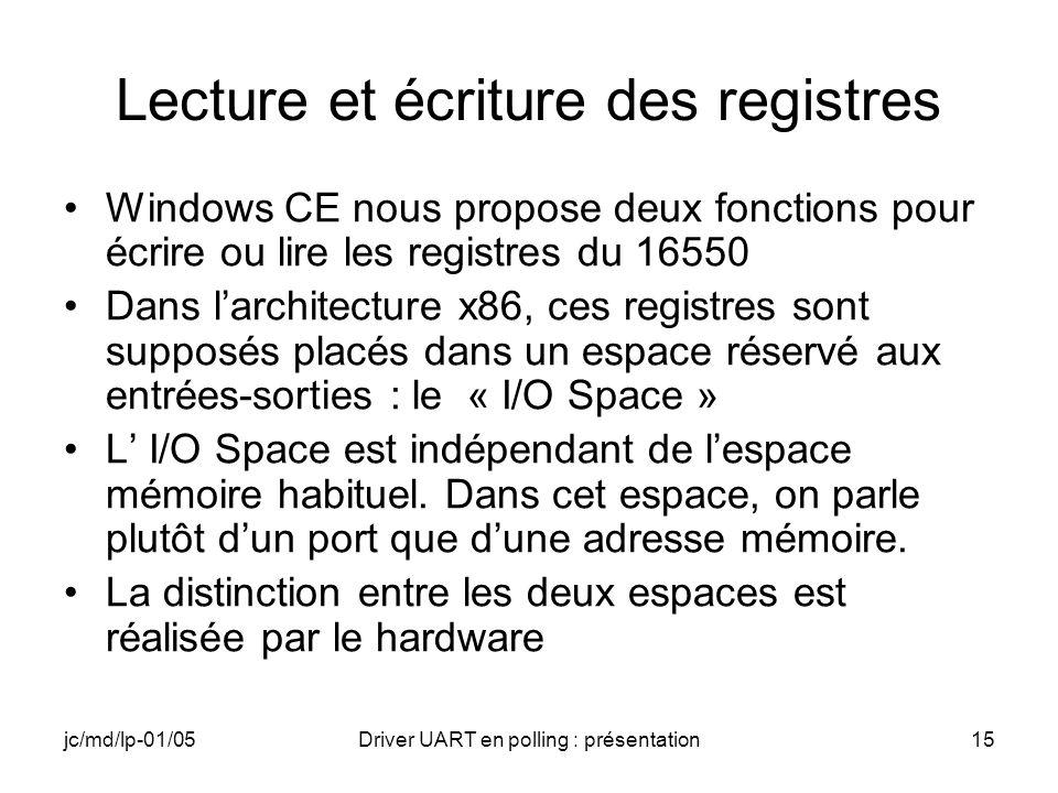 jc/md/lp-01/05Driver UART en polling : présentation15 Lecture et écriture des registres Windows CE nous propose deux fonctions pour écrire ou lire les