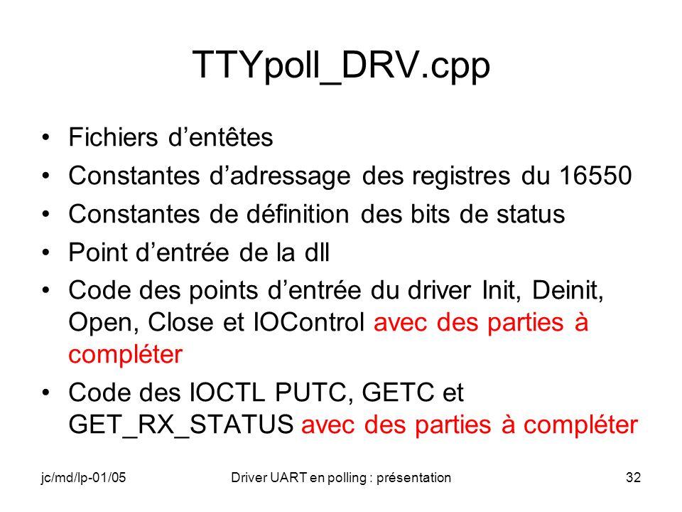 jc/md/lp-01/05Driver UART en polling : présentation32 TTYpoll_DRV.cpp Fichiers dentêtes Constantes dadressage des registres du 16550 Constantes de déf