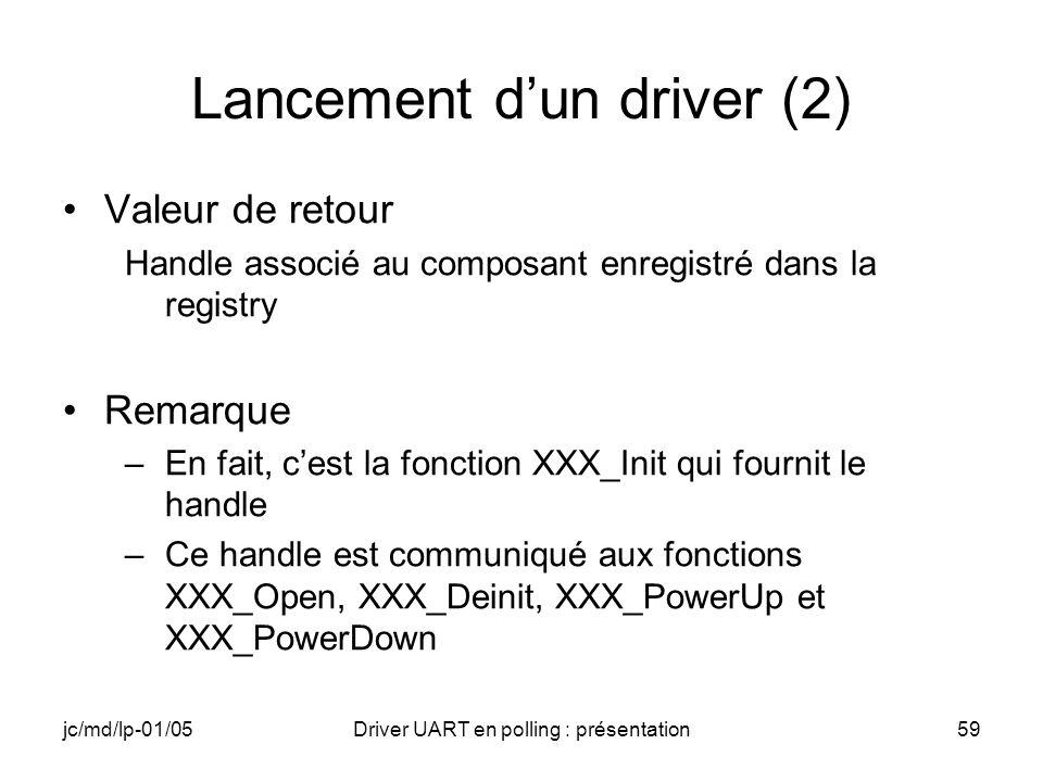 jc/md/lp-01/05Driver UART en polling : présentation59 Lancement dun driver (2) Valeur de retour Handle associé au composant enregistré dans la registr