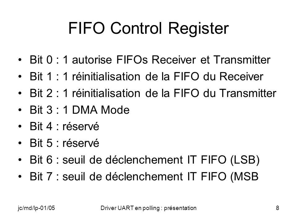 jc/md/lp-01/05Driver UART en polling : présentation9 Line Control Register Bit 0 : codage nombre de bits de data (LSB) Bit 1 : codage nombre de bits de data (MSB) Bit 2 : 0 un bit de stop, 1 deux bits de stop Bit 3 : 0 pas de parité, 1 parité Bit 4 : codage et contrôle de la parité Bit 5 : codage et contrôle de la parité, Bit 6 : 1 génération dun break Bit 7 : DLAB, 1 sélection Divisor Latch Ex : codage nombre de bits 11 8 bits de data