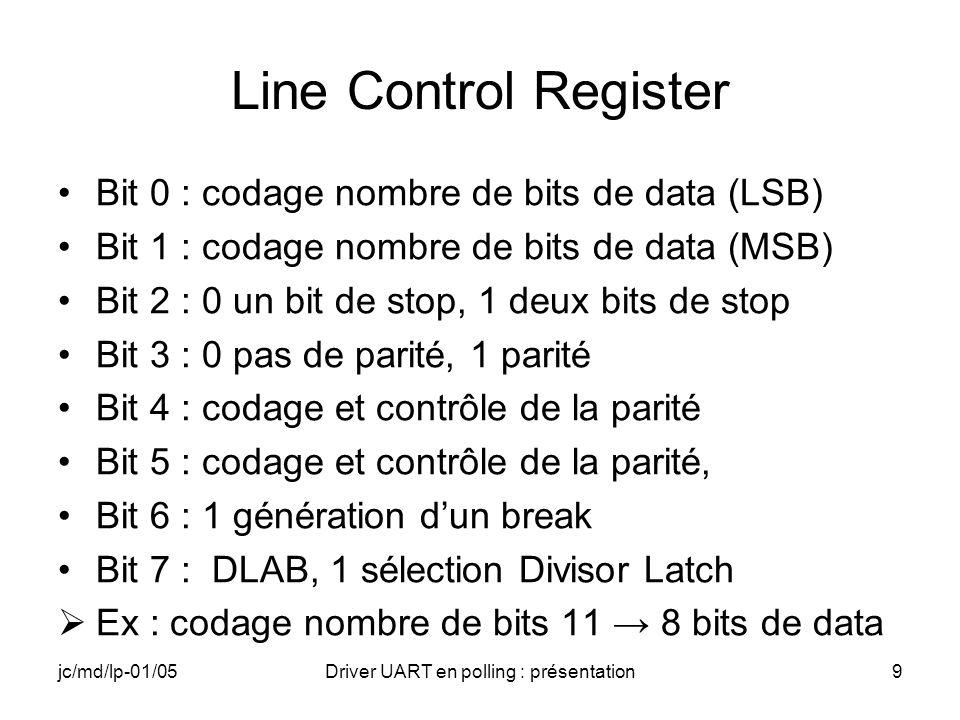 jc/md/lp-01/05Driver UART en polling : présentation10 MODEM Control Register Bit 0 : gère le signal DTR Bit 1 : gère le signal RTS Bit 2 : signal OUT1 Bit 3 : signal OUT2 (EI/DI) Bit 4 : mode Loopback Bit 5 : 0 Bit 6 : 0 Bit 7 : 0