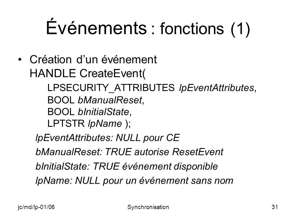 jc/md/lp-01/06Synchronisation31 Événements : fonctions (1) Création dun événement HANDLE CreateEvent( LPSECURITY_ATTRIBUTES lpEventAttributes, BOOL bManualReset, BOOL bInitialState, LPTSTR lpName ); lpEventAttributes: NULL pour CE bManualReset: TRUE autorise ResetEvent bInitialState: TRUE événement disponible lpName: NULL pour un événement sans nom