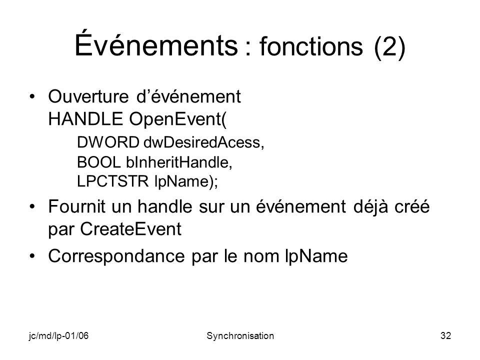 jc/md/lp-01/06Synchronisation32 Événements : fonctions (2) Ouverture dévénement HANDLE OpenEvent( DWORD dwDesiredAcess, BOOL bInheritHandle, LPCTSTR lpName); Fournit un handle sur un événement déjà créé par CreateEvent Correspondance par le nom lpName