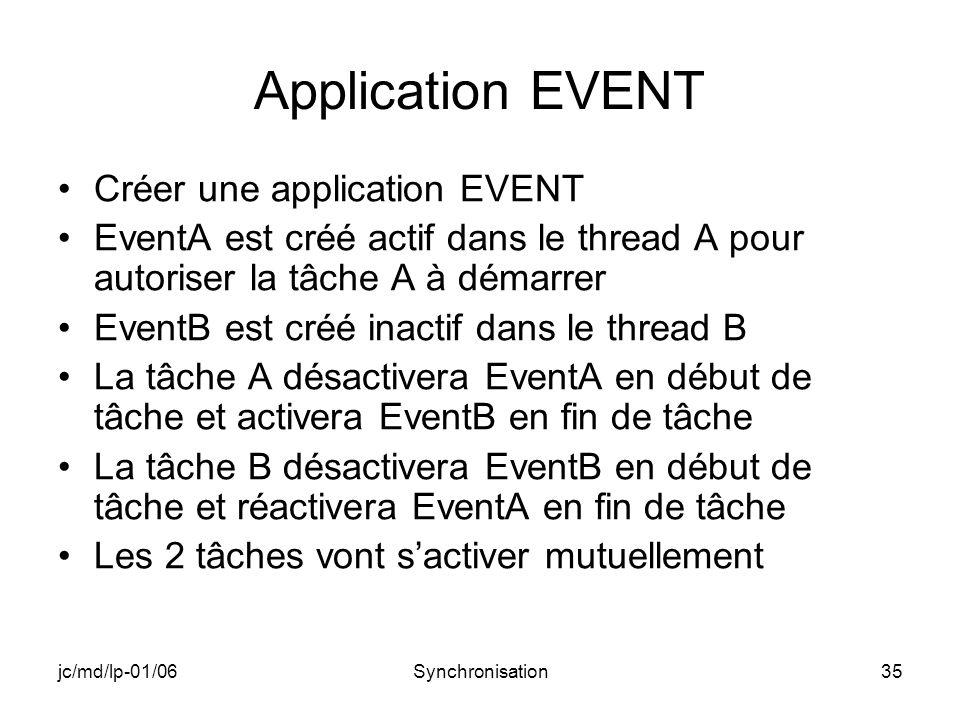 jc/md/lp-01/06Synchronisation35 Application EVENT Créer une application EVENT EventA est créé actif dans le thread A pour autoriser la tâche A à démarrer EventB est créé inactif dans le thread B La tâche A désactivera EventA en début de tâche et activera EventB en fin de tâche La tâche B désactivera EventB en début de tâche et réactivera EventA en fin de tâche Les 2 tâches vont sactiver mutuellement
