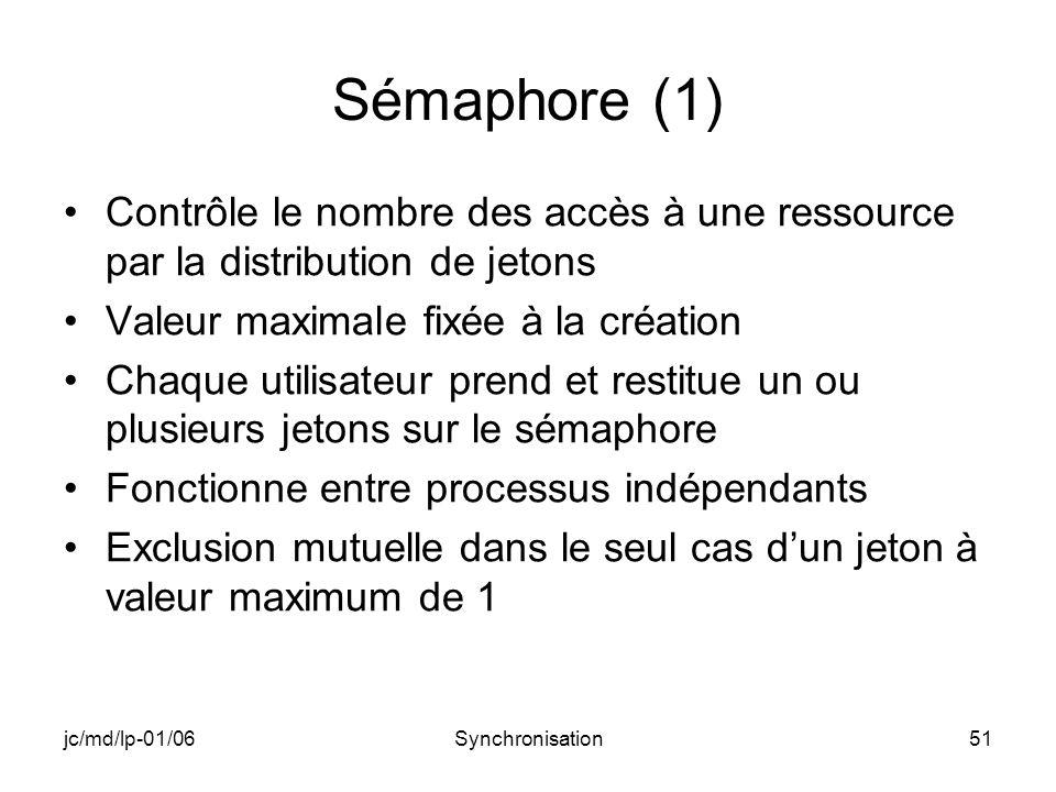 jc/md/lp-01/06Synchronisation51 Sémaphore (1) Contrôle le nombre des accès à une ressource par la distribution de jetons Valeur maximale fixée à la cr