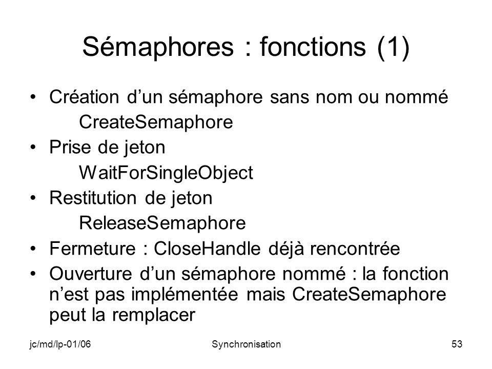 jc/md/lp-01/06Synchronisation53 Sémaphores : fonctions (1) Création dun sémaphore sans nom ou nommé CreateSemaphore Prise de jeton WaitForSingleObject Restitution de jeton ReleaseSemaphore Fermeture : CloseHandle déjà rencontrée Ouverture dun sémaphore nommé : la fonction nest pas implémentée mais CreateSemaphore peut la remplacer