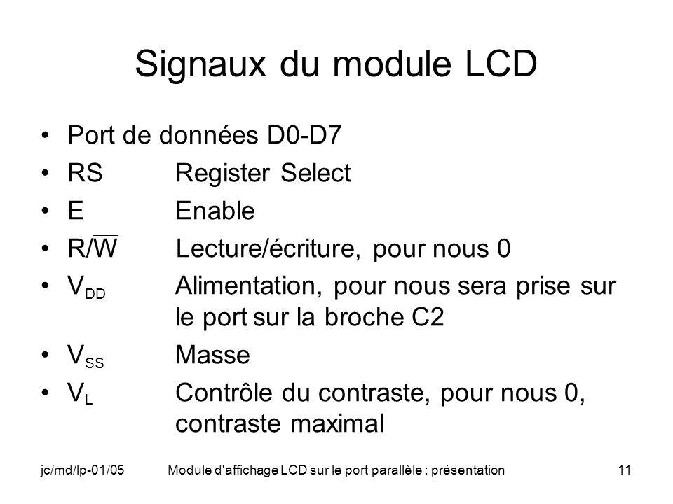 jc/md/lp-01/05Module d'affichage LCD sur le port parallèle : présentation11 Signaux du module LCD Port de données D0-D7 RSRegister Select EEnable R/W