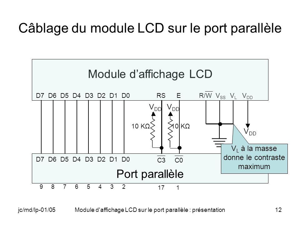 jc/md/lp-01/05Module d'affichage LCD sur le port parallèle : présentation12 Câblage du module LCD sur le port parallèle Module daffichage LCD R/W V SS