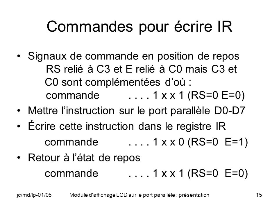 jc/md/lp-01/05Module d'affichage LCD sur le port parallèle : présentation15 Commandes pour écrire IR Signaux de commande en position de repos RS relié